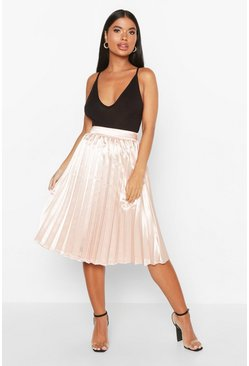 Dam Blush Petite Satin Pleated Midi Skirt