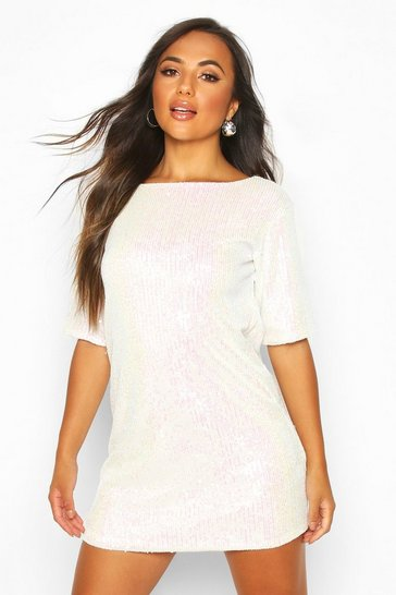 Womens White Petite Iridescent Sequin Shift Dress
