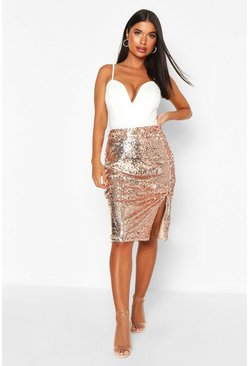Womens Rose Petite Sequin Split Midi Skirt