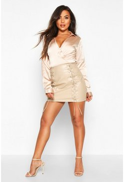 Womens Stone Petite PU Lace Up Mini Skirt