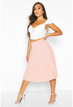 Womens Blush Petite Pleated Crepe Midi Skirt