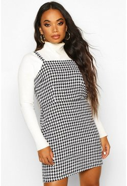 Womens Black Petite Dogtooth Heavy Weight Pinafore Dress