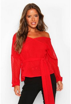 Red Petite Dobby Mesh Off Shoulder Belted Blouse