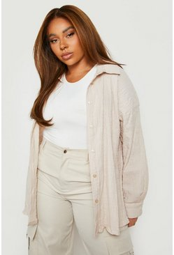 Camicia oversize increspata Plus, Cammello, Femmina