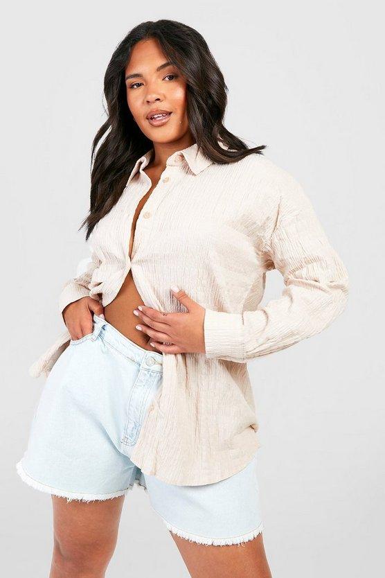 Plus Shirred Oversized Shirt by Boohoo
