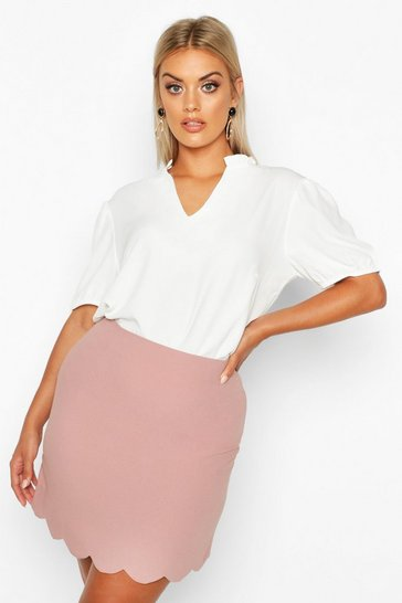 Womens Dusty rose Plus Woven Scallop Mini Skirt