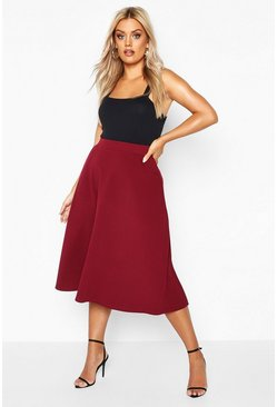 Berry Plus Pocket Front Crepe Skater Midi Skirt