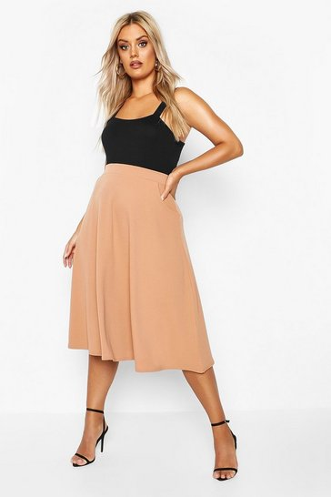 Womens Camel Plus Pocket Front Crepe Skater Midi Skirt