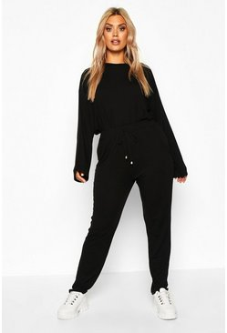 Womens Black Plus Turtle Neck Lounge Set