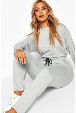 Womens Light grey Plus Turtle Neck Lounge Set