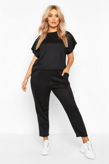 Black Plus Loopback Short Sleeve Boxy Lounge Set