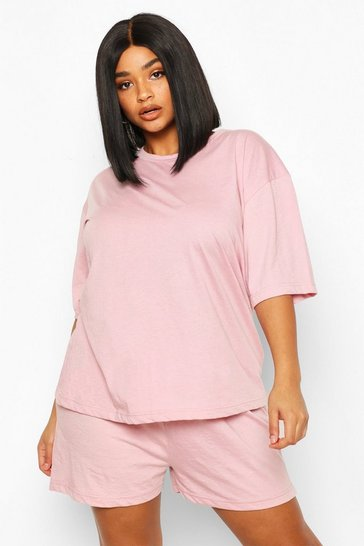 Blush Plus Basic T-Shirt and Short Set