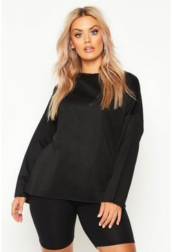 Dam Black Plus High Neck Loopback Sweat