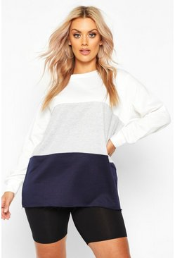 Womens Navy Plus Colour Block Sweat Top