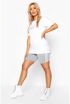 Womens Light grey Plus Stripe Cycling Short