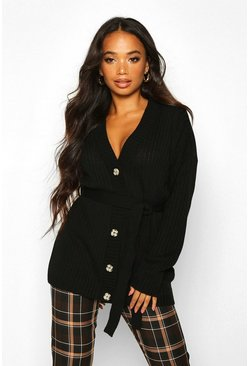 Womens Black Petite Rib Knitted Belted Cardigan