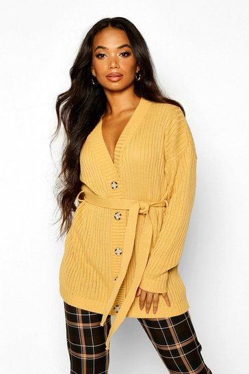 Camel Petite Rib Knitted Belted Cardigan