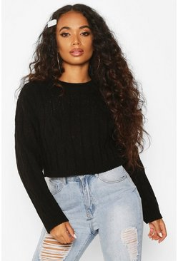 Womens Black Petite Cropped Boxy Cable Knitted Jumper