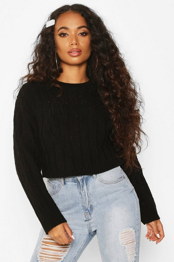Petite Cropped Boxy Cable Knitted Jumper