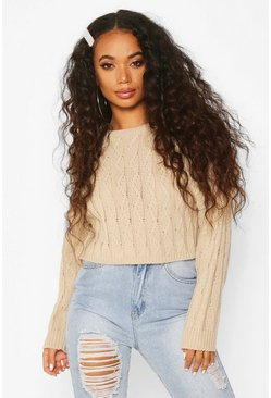 Stone Petite Cropped Boxy Cable Knitted Jumper