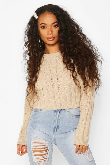 Womens Stone Petite Cropped Boxy Cable Knitted Jumper