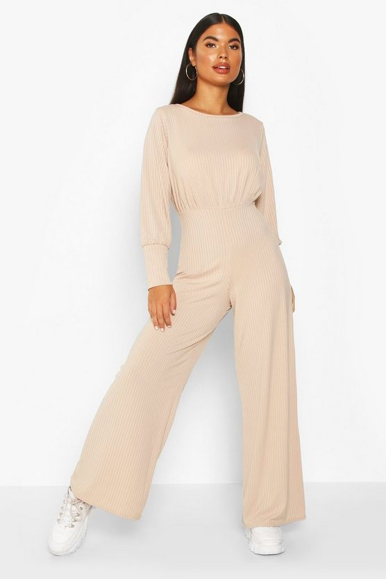 Stone Petite Ribbed Wide Leg Jumpsuit