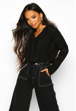 Womens Black Petite Knitted Jumbo Rib Cropped Jumper