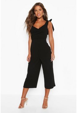 Womens Black Petite Tie Detail Culotte Jumpsuit
