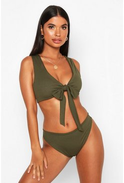 Khaki Petite Rib High Leg Bikini Brief