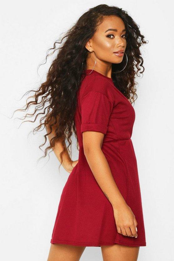 Petite Knitted Rib Turn Up Sleeve Smock Dress