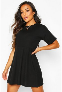 Womens Black Petite Knitted Rib Turn Up Sleeve Smock Dress