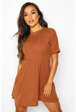 Toffee Petite Knitted Rib Turn Up Sleeve Smock Dress