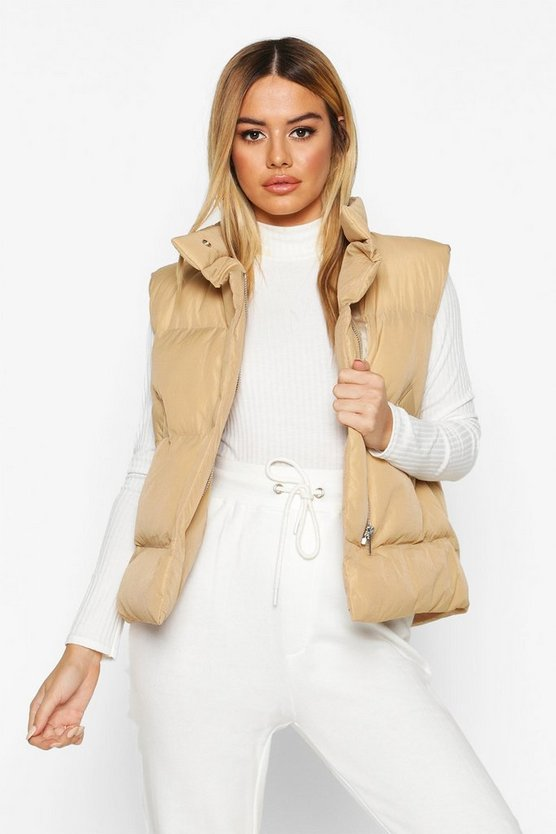 Womens Camel Petite Sleeveless Padded Gilet