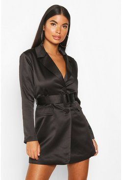 Black Petite Satin Belted Blazer Dress