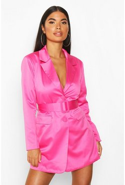 Womens Hot pink Petite Satin Belted Blazer Dress