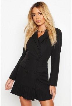 Black Petite Pleated Blazer Dress