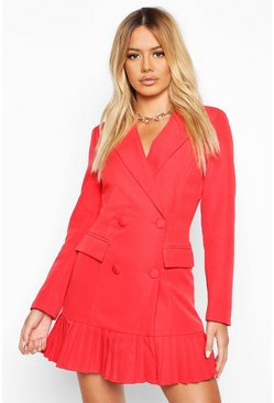 Womens Red Petite Pleated Blazer Dress