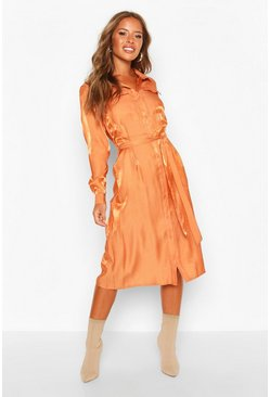 Womens Terracotta Petite Pocket Metallic Midi Shirt Dress