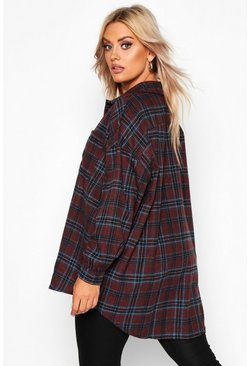 Womens Maroon Plus Check Shirt