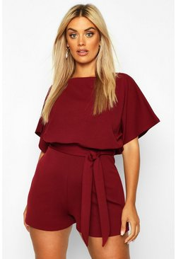 Dam Berry Plus Slash Neck Tie Waist Playsuit