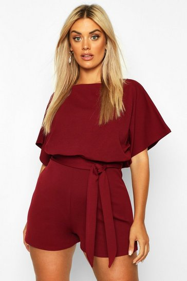 Womens Berry Plus Slash Neck Tie Waist Playsuit