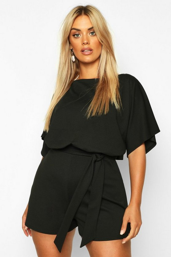 Black Plus Slash Neck Tie Waist Playsuit