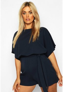 Navy Plus Slash Neck Tie Waist Playsuit