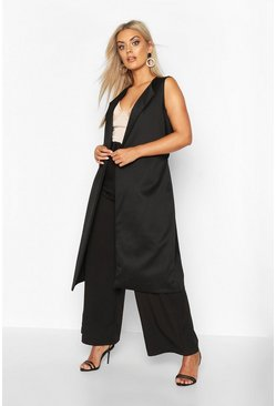 Womens Black Plus Sleeveless Belted Duster Coat