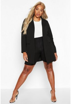 Black Plus Pocket Detail Boyfriend Blazer
