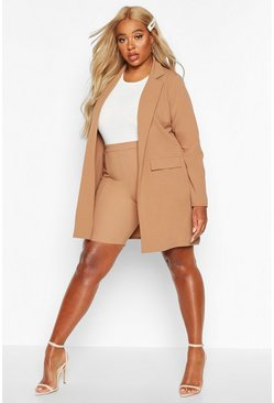 Womens Camel Plus Pocket Detail Boyfriend Blazer