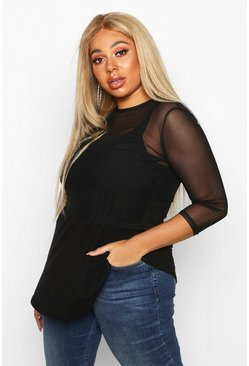 Black Plus 2 In 1 Cami Mesh Swing Top
