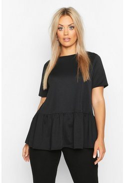 Black Plus Oversized Drop Hem Smock Top