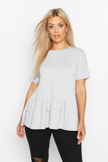 Grey Plus Oversized Drop Hem Smock Top