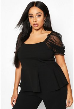Black Plus Mesh Puff Sleeve Peplum Top